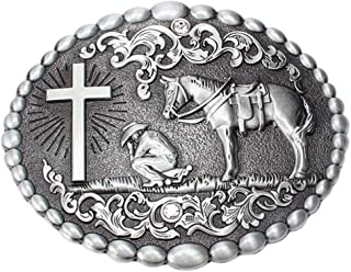 Oyster-Buckle Christian Cowboy Praying to the Cross with Horse Belt Buckle