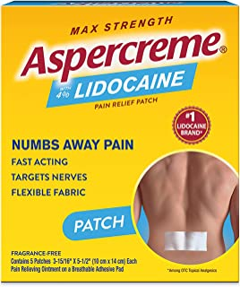 Aspercreme Odor Free Max Strength Lidocaine Pain Relief Patch for Back Pain, 5 Count
