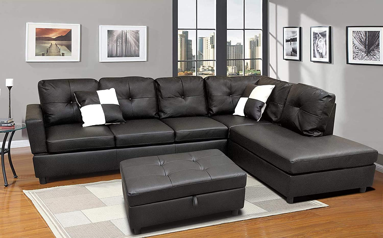 Sofa Sectional Sofa, L Shape Faux Leather Sectional Sofa Couch Set with  Chaise, Ottoman, 20 Toss Pillow Using for Living Room Furniture.(Black)