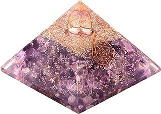 Chakra Stones Emf Protection Orgone Pyramid, Reiki Energy Meditation Negative Ion Generator Pyramid for Positive Energy wi...