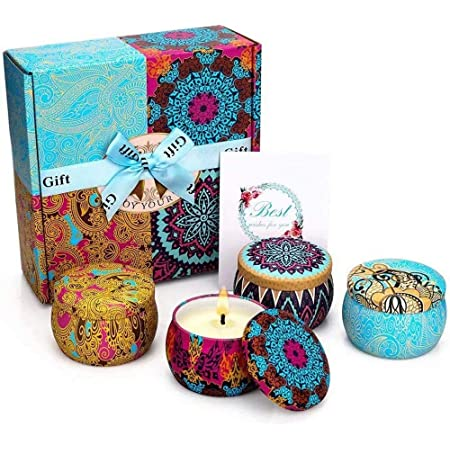 Scented Candles Gift Set, Soy Wax 4.4 Oz Portable Travel Tin Candles Women Gift with Strongly Fragrance Essential Oils for Stress Relief Aromatherapy Bath Home Decor 4 Pack