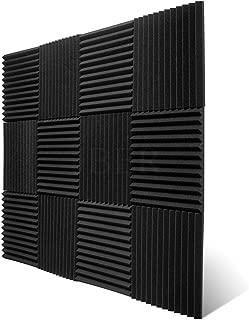 JBER 12 Pack Charcoal Acoustic Panels Studio Foam Wedges Fireproof Soundproof Padding Wall Panels 1