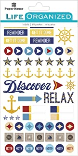 Paper House Productions STPL-0005 Nautical Functional Planner Stickers, 3-pack, 3 Piece
