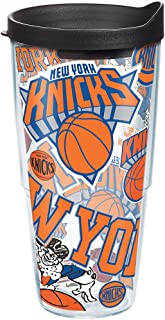 Tervis NBA New York Knicks All Over Tumbler with Wrap and Black Lid 24oz, Clear