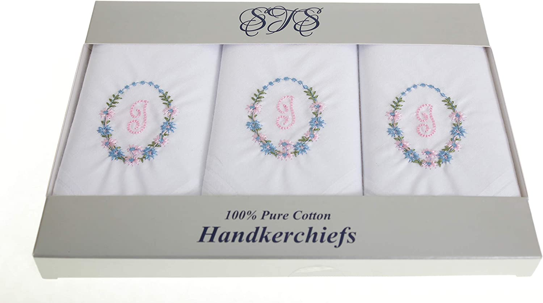 3 St/ück Damen-Taschent/ücher aus 100 /% Baumwolle mit Initialen-Brief