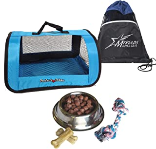 Perfect Petzzz Blue Tote for Plush Breathing Pets with Dog Food, Treats, Chew Toy and Myriads Drawstring Bag