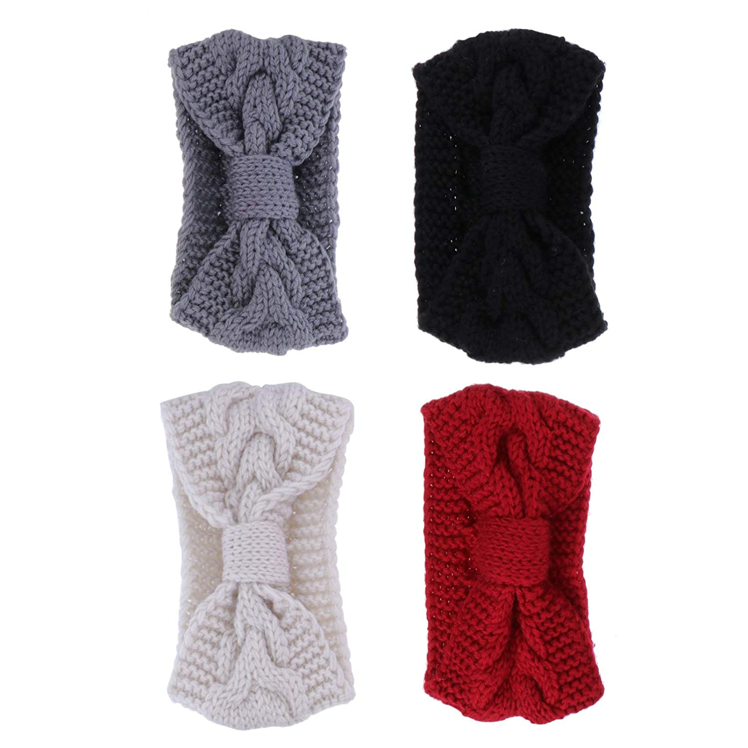 FRCOLOR 4pcs Knitted Headbands Crochet Elastic Bow Headwrap with Buttons Winter Ear Warmer Hairband for Women