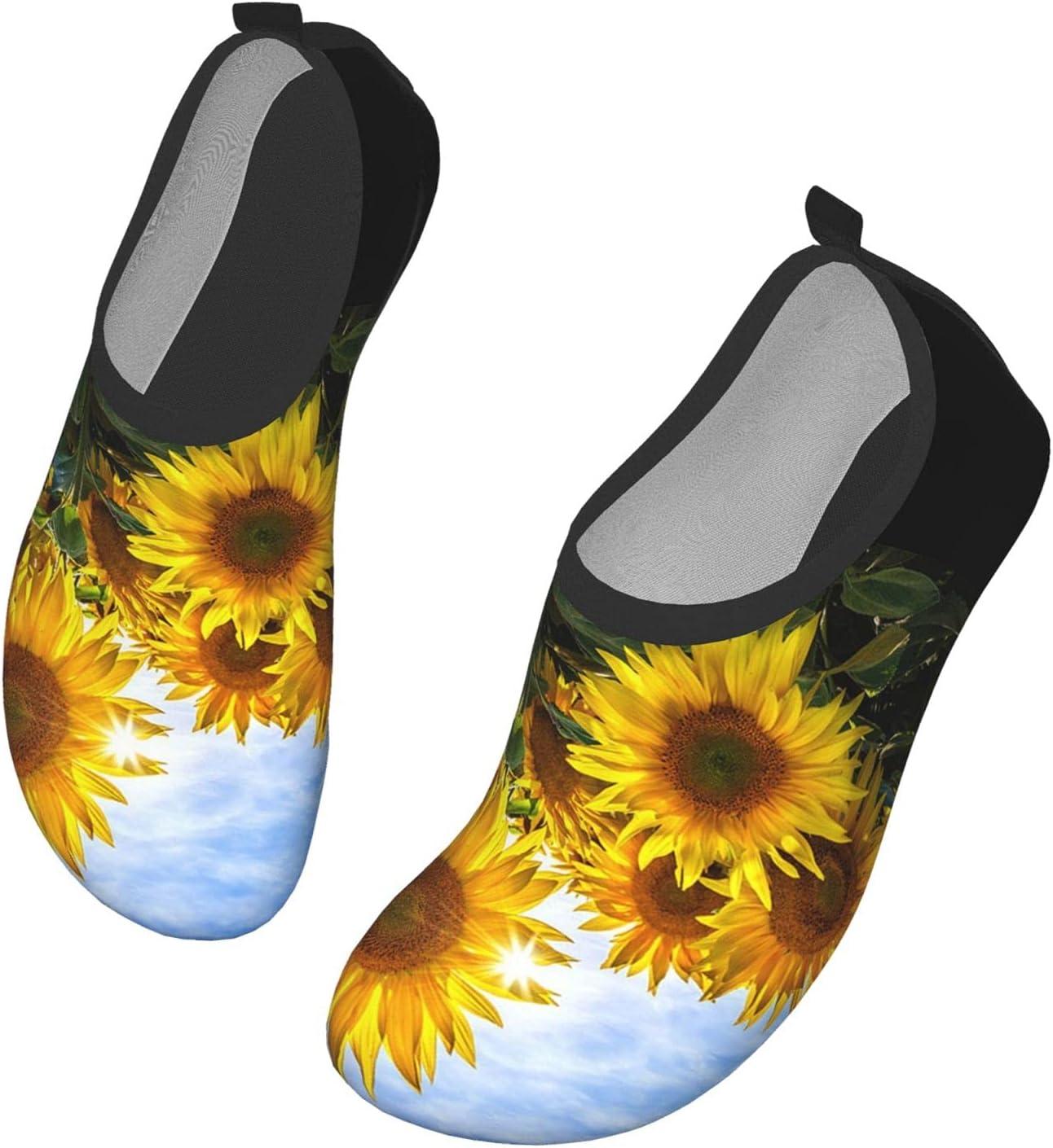 Womens Mens Summer Water Shoes Yellow Sunflowers Sunflower Barefoot Shoe Quick Dry Aqua Socks
