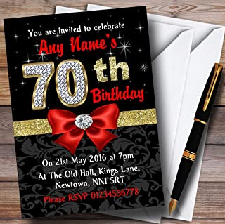 Red Black Gold Diamond 70Th Birthday Party Personalized Invitations