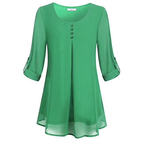 37b7ef2801 Cestyle Women s Roll-up Long Sleeve Round Neck Layered Chiffon Flowy Blouse  Top
