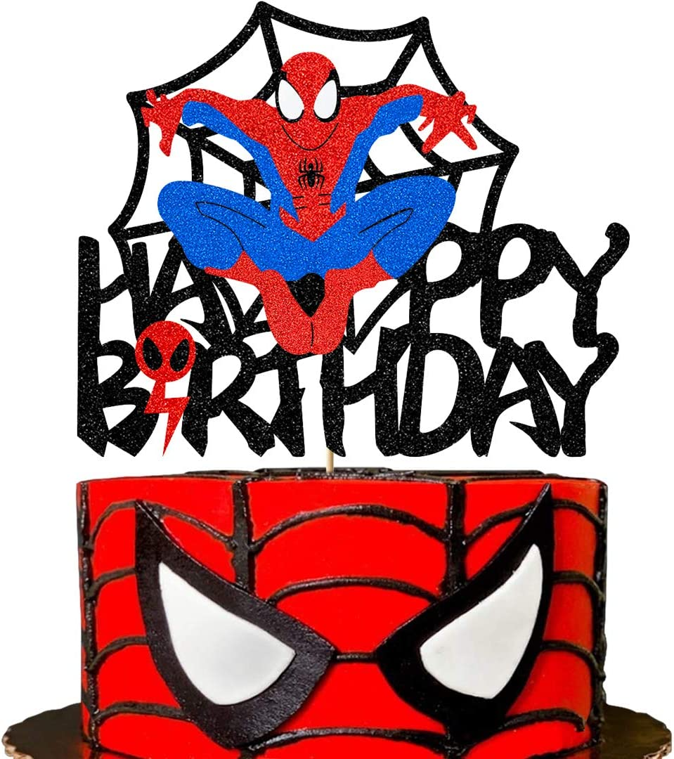 Glorymoment Cake Decor for Spiderman Happy Birthday Cake Topper for Boys Men Birthday Party, Glitter Happy Birthday Cake Topper for Spider-man Superhero Theme Birthday Party Decor (6.7'' x5.51'' )
