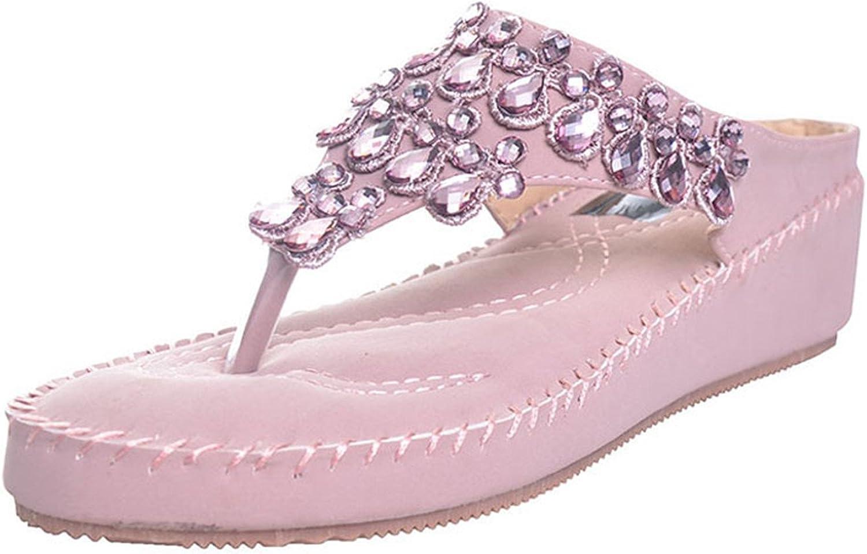 Willie Marlow Women Flip Flops Rhinestone shoes Casual Beach Slippers 5cm Heel