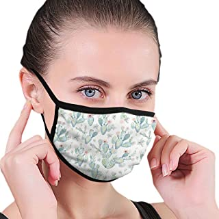 Mouth Mask Earloop Face Mask Fashion Polyester Breathable Mask - Cactus Succulents Adjustable Elastic Strap Windproof Face and Nose Cover, Reusable & Washable