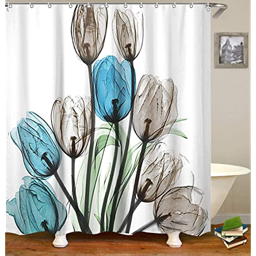 LIVILAN Shower Curtain Set With 12 Hooks Floral Bath Thick Fabric Bathroom Curtains Home Decorations