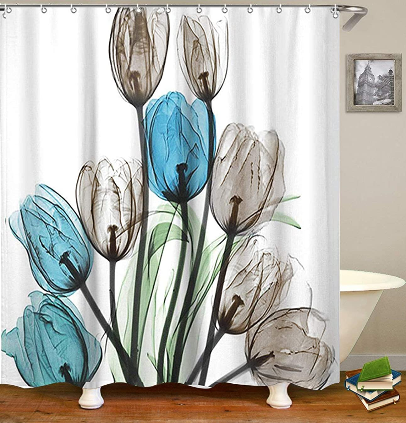 LIVILAN Shower Curtain Set with 12 Hooks Floral Bath Curtain Thick Fabric Bathroom Curtains Home Decorations for Bathroom Blue Grey Brown Tulip Flower Shower Curtain 72