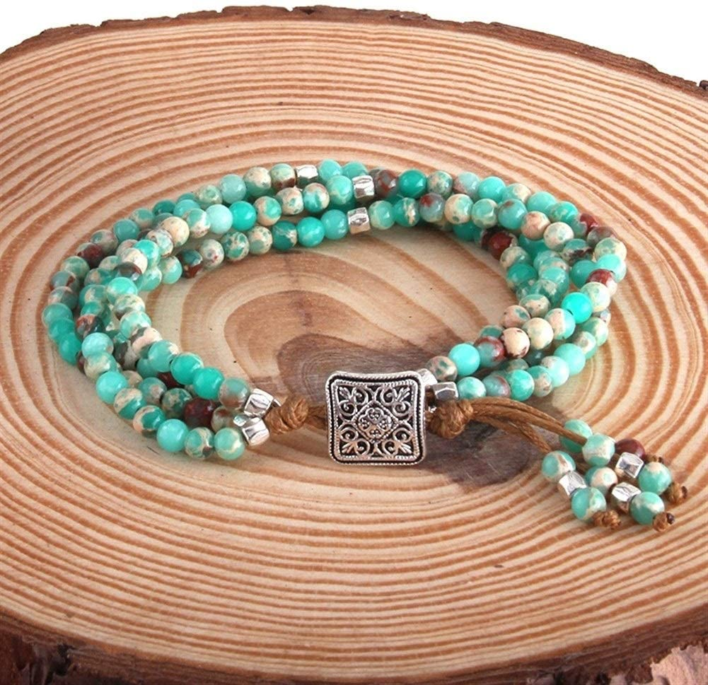 JSBHS Fashion Beautiful Colorful favorite OFFicial Natural Stone Wrap Beaded Brace
