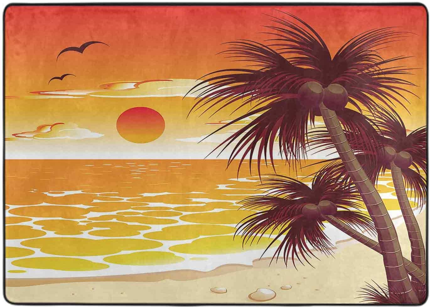 Non-Slip 70% OFF Outlet Backing Area Rug Tropical Sunset 5' x discount Ru Modern 6'