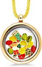 Gem Stone King Christmas Collection Multi-Colored Crystals Charm Locket Pendant Necklace 18inches
