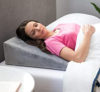 Linenspa Bed Wedge Pillow- Hypoallergenic - Support and Elevate Upper Body - Multipurpose - Alleviate Acid Reflux, Snoring - Removable Velour Cover