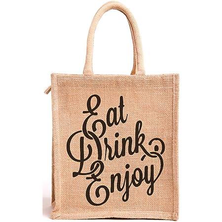 H&B Jute Bags for Lunch for Men | Jute Bags with Zip | Jute Tote Bag | Jute Tiffin Bags | Printed Jute Bag | Jute Carry Bag | Women's Jute Bag - Eat Drink Enjoy