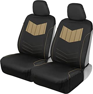 Motor Trend MTSC304 Beige ComfortPlush PU Leather All Protection Sideless Seat Covers for Car Auto (Sedan Truck SUV Minivan) – Front 2pc