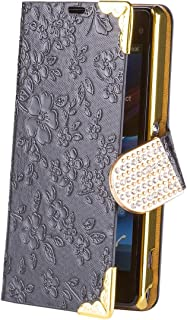 iCues   Compatible with Sony Xperia Z1 Compact   Chrome Flower Wallet Black   [Screen Protector Included] Floral Folio Flip Case Crystal Diamond Rhinestone Bling Glitter Women Girl