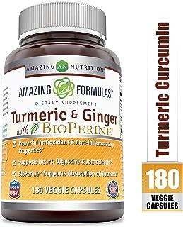 Amazing Formulas Turmeric Curcumin & Ginger with BioPerine - 1500 Mg Per Serving Veggie Capsules (180 Veggie Capsules) (Non-GMO) - Powerful Antioxidant & AntiInflammatory Properties.