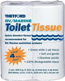 RV/ Marine Toilet Tissue - Toilet Paper for RV and Marine - 1-ply - 4 rolls - Thetford 20804