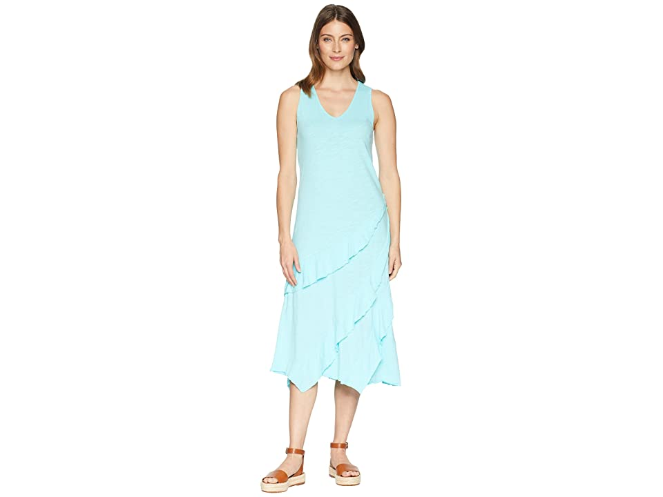Mod-o-doc Slub Jersey Easy Fit Tank Dress with Asymmetrical Flounce (Pacific) Women