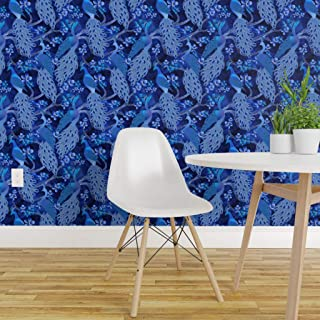 Spoonflower Pre-Pasted Removable Wallpaper, Birds Chinese Japanese Cherry Blossoms Flowers Feathers Vodien Print, Water-Activated Wallpaper, 24in x 108in Roll