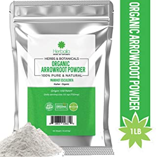 Organic Arrowroot Powder 1Lb. All-Natural Arrowroot Flour (Immune Health & Metabolism) USDA Certified Organic, Gluten-free & Kosher, 1 Pound