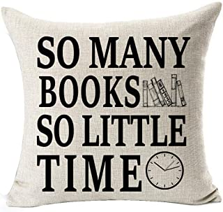 Book Lover Book Club Librarian Reading Funny Sayings So Many Books So Little Time Cotton Linen Throw Pillow Case Cushion C...