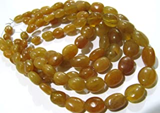 AAA Quality Natural Yellow Sapphire Oval Shape 8 to 10mm Plain Smooth Yellow Color Strand 8 inches