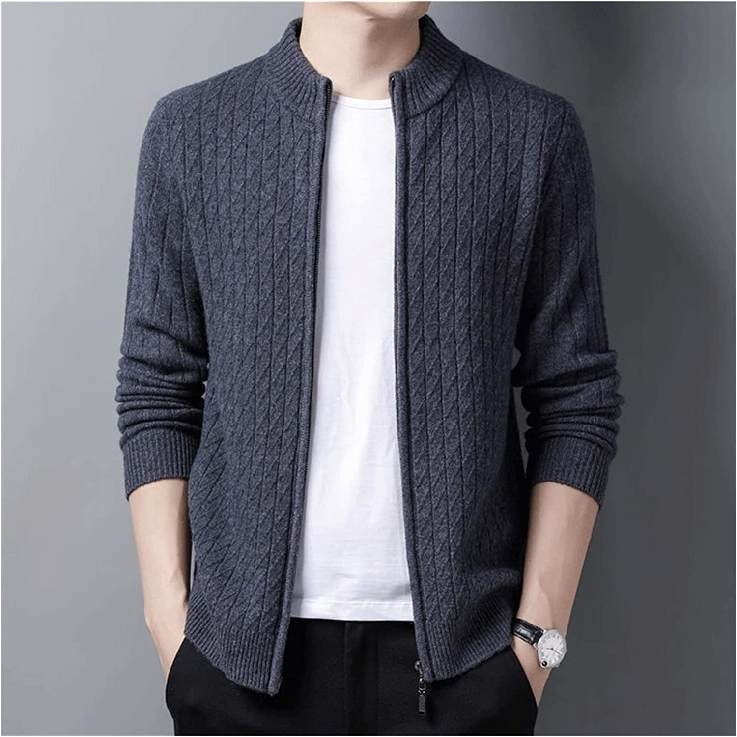 LSDJGDDE Men Wool Cardigan Men Clothing Autumn Winter Thick Warm Sweatercoat Sweater (Color : Gray, Size : M Code)