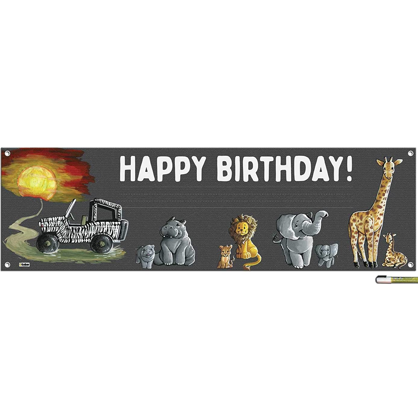 Cohas Safari Theme Happy Birthday Banner Includes 16 by 52 Inch Vinyl Banner with Metal Hanging Rings, Additional Text Guidelines, and White Marker