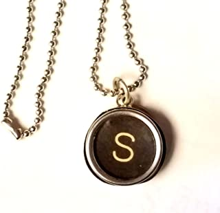 antique typewriter key necklace sterling