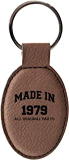 40th Birthday Gifts Made 1979 Birthday Gifts for Dad or Mom Birthday Gifts Leather Oval Keychain Key Tag Brown