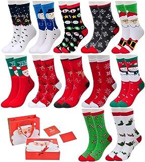 Vertvie, 12 pares de calcetines navideños unisex calcetines navideños motivo navideño calcetines navideños de algodón diseño mixto para mujeres y hombres