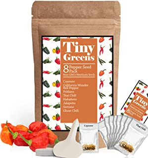 Heirloom Pepper Seed Variety Pack | 8 Hot & Sweet Peppers For Planting | Garden Vegetable Seeds | Cayenne, California Bell Pepper, Poblano, Thai Chili, Habanero, Jalepeno, Serrano, Ghost Pepper