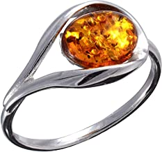 HolidayGiftShops Sterling Silver and Baltic Honey Amber Ring