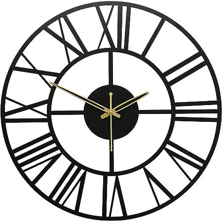 TW TICKER Designer New Roman Number Heavy Metal Wall Clock for Living Room,Office (40 cm,Black)