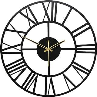 TW TICKER Designer New Roman Number Heavy Metal Wall Clock for Living Room,Office (40 cm,Mate Black)