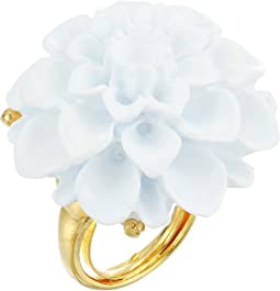 Kenneth Jay Lane Gold/White Flower Ring