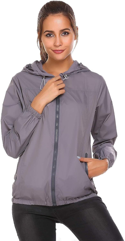 Dickin Women's Waterproof Lightweight Raincoat Hooded Hiking Active Outdoor Jacket