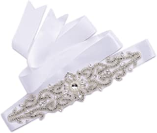 AW Premium Wedding Dress Belt Handmade Rhinestone Bridal Sash with Satin Ribbon