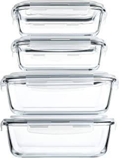 [80 oz & 36 oz]Extra Large Glass Food Storage/Baking Containers Set with Locking Lids, 2 Pack 80 oz(10 cup)&2 Pack 36 oz (...