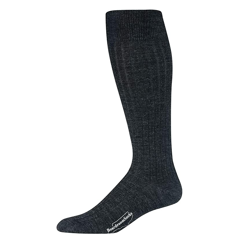 Boardroom Socks Men's Over the Calf Merino Wool Ribbed Dress Socks