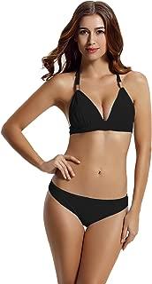 Women Hipster Bottom Halter Triangle Push up Bikini Bathing Suits