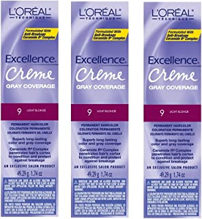 L'Oreal Excellence Creme 9 Light Blonde Hair Color Tint HC-06213 (3 Pack)
