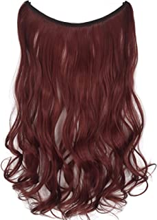 TOPREETY Halo Hair Extensions 100gr Elastic Invisible Wire Attached Hairpieces No Clip No Glue W#118 Burgundy red